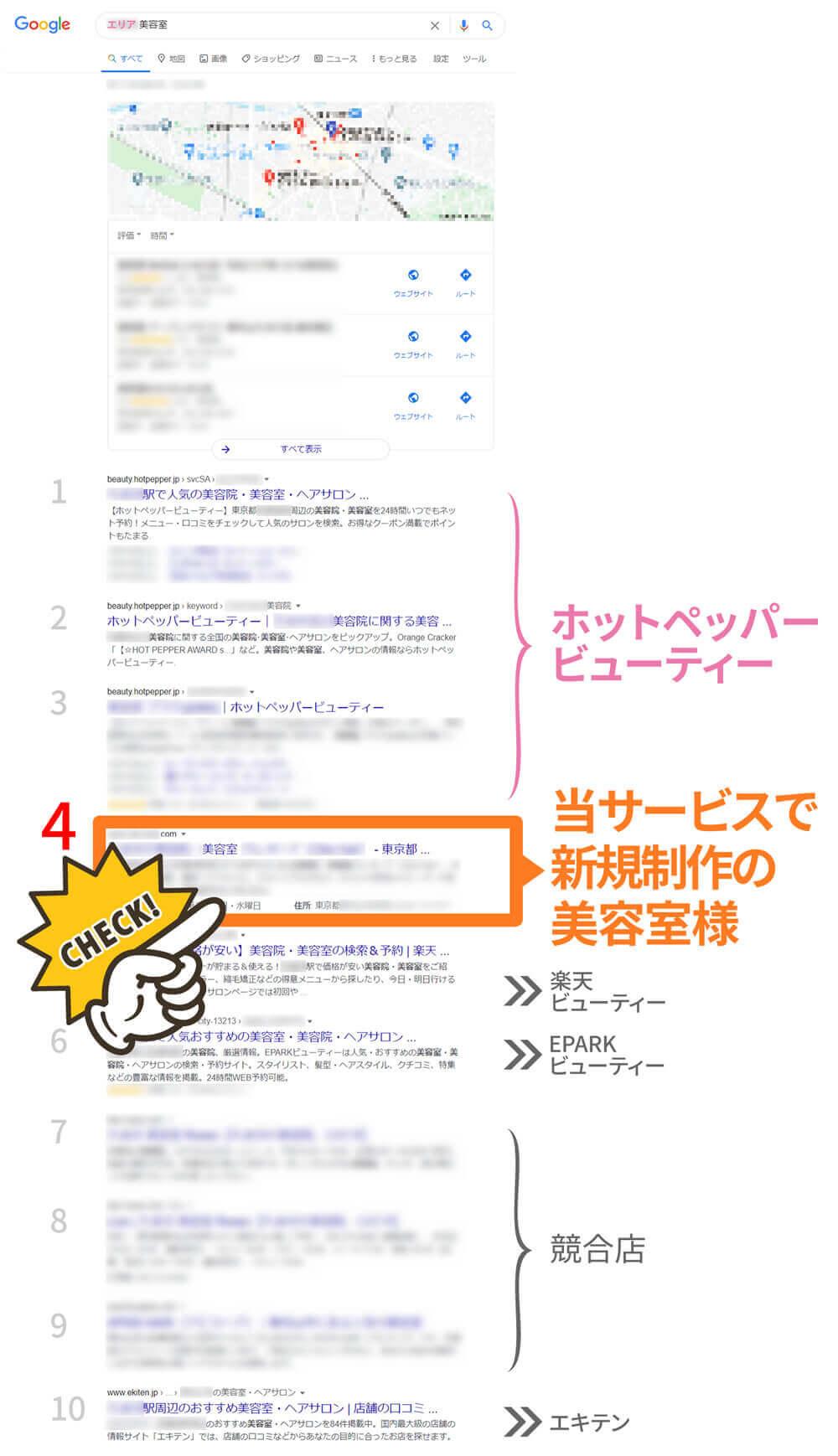 美容室様事例2(新規)検索結果でホットペッパービューティーの次に表示